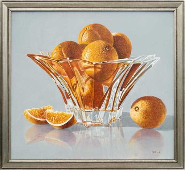 Oranges in Crystal Bowl